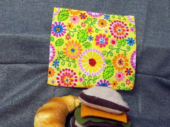 Reusable Sandwich Bag, Cosmos Garden Yellow Design