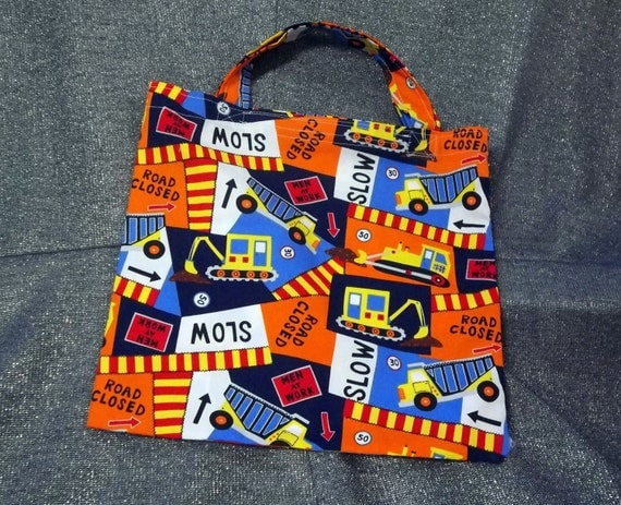 Book Lunch Small Tote N Gift Bag, Construction Workers Print