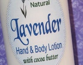 Organic LAVENDER Hand and Body Lotion - soothing moisturizing and all natural with cocoa butter