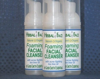 HERBAL FACE Organic Foaming Facial Cleanser, Vegan with acne fighting Tea Tree Oil