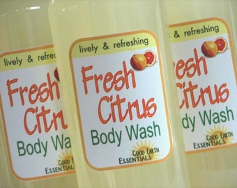 Fresh Citrus BODY WASH, NEW 8 oz size,  lively and refreshing, with real essential oils