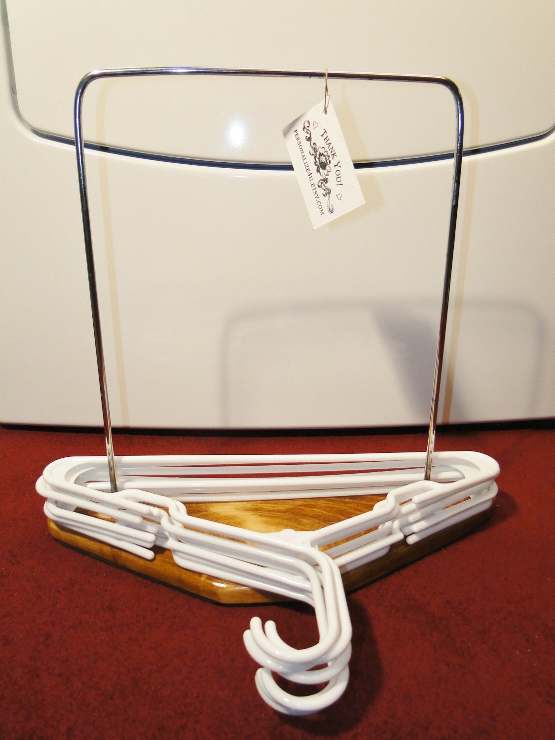Clothes hanger organizer stand for the laundry room bedroom