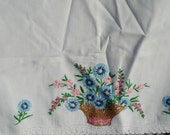 Pair of Vintage Cottage Pillow Cases with Hand Embroidered Basket of Flowers