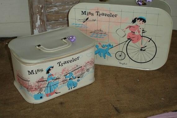 Vintage Child's Luggage Set - Miss Traveler