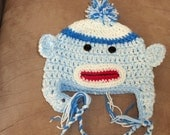 Toddler sock monkey hat or Hello kitty hat your choice