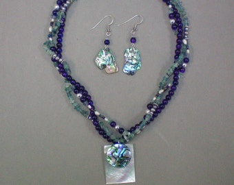 Necklace N Earrings Paua Shell and Fluorite