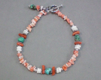 Bracelet Coral and Turquoise