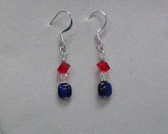 Earrings Red White N Blue