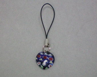 Blue Glass Heart Charm