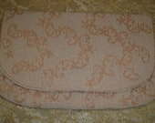 10% OFF SALE vintage Glamour 1950's BONWIT Teller Exclusive Hand Beaded Clutch. Pearl / Peach color. Made in Belgium. Perfect Condition. Original Mirrior in Package