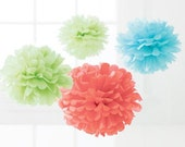 """SALE- """"JUMBO"""" Party Pack of  25 Tissue Pom Poms / Flowers- Perfect for Graduation, Showers, Weddings, Birthdays, Parties, etc."""