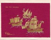 Columbus ships Nina, Pinta, Santa Maria Handcrafted with rice leaves
