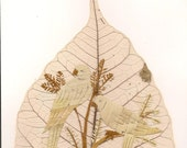 Parrots, Handmade leaf art, collectible, Unique art. Can U BELIEVE it is made of rice straw and real leaf