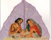 Joseph,Mary and Baby Jesus Handcrfted original leaf art Limited edition signed keepsake, green eco friendly art