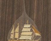 SALE  Sailing ship on a leaf.  Hand crafted orignal leaf art.  Keepsake, eco friendly, green art