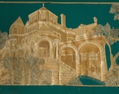 Moody Mansion.  Handmade with rice leaves Original art Victorian home in leaf art SALE SALE