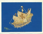SALE  Columbus sailing ship SANTA MARIA.  Hand-crafted orignial signed leaf art.  Not a print and no two alike
