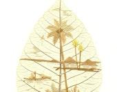 Beautiful Scenery  Coconut tree, sea, sky, birds house.  Handmade with rice straw on a real leaf.