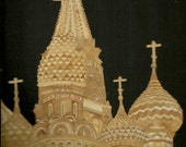 RUSSIA  Handmade with rice leaves  Moscow architecture.  ETSY No color. paint or dye added to the natural color of the rice straw
