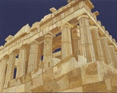 GREECE  The cradle of civilization.  The Parthanon in rice straw art. Handmade with rice leaves ETSY art