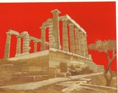 GREECE An ancient civilization but in economic distress now.  Greek archictecture in rice straw art  ETSY art