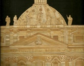 Rome ITALY  Church in Rome, Italy.  Handmade with rice straw.  Ancient and endangered leaf art Etsy art