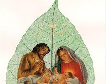 Jesus, Mary, Joseph  Nativity Scene  Christmas SALE Primitive, ancient leaf art  Recycled, eco friendly, green art CHRISTMAS  Nativity art