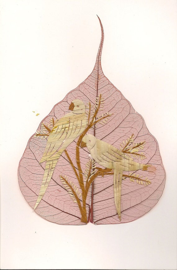 Parrots handmade leaf art. Avian art.  Not a print, handmade with rice leaves, signed art.  No 2 leaves or leaf are art exactly alike