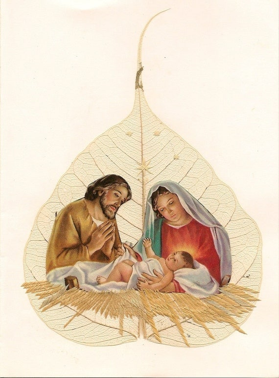 Nativity on Leaf art.  Christmas art. Green, eco friendly. Ancient, endangerd leaf art no two leaf exactly alike