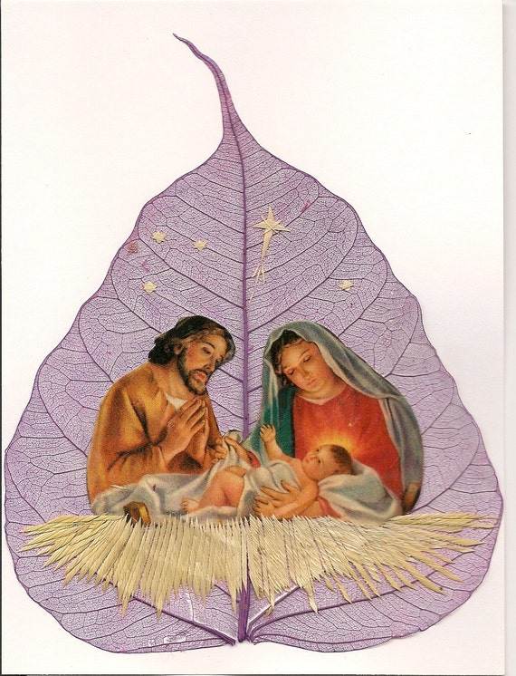 Mary, Joseph and Baby Jesus  Nativity scene handmade on a leaf. No two leaf or leaf art is exactly alike.  Green eco friendly art