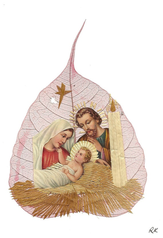 Christmas Nativity scene.  No two leaf exactly alike.  Handmade, signed art