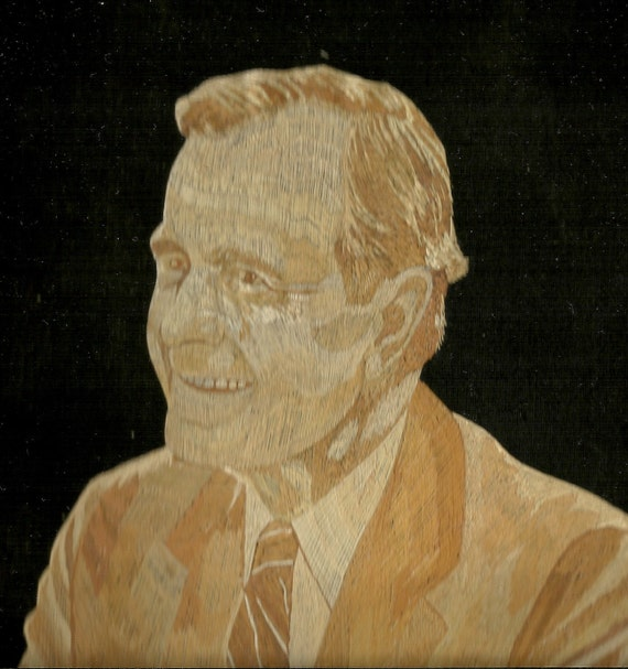 President George H W BUSH  Rice straw art of President BUSH  No color, paint or dye added to the dried leaves of rice plant. Handmade signed