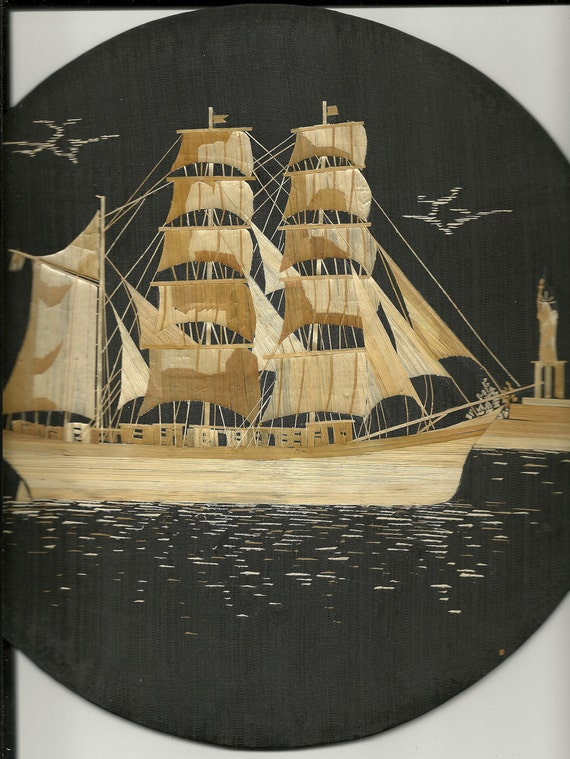 Texas Tall ship Elissa by the Statue of Liberty in New York.  Handmade leaf art Collecible art.  Circular shape.  Wall Decoration.
