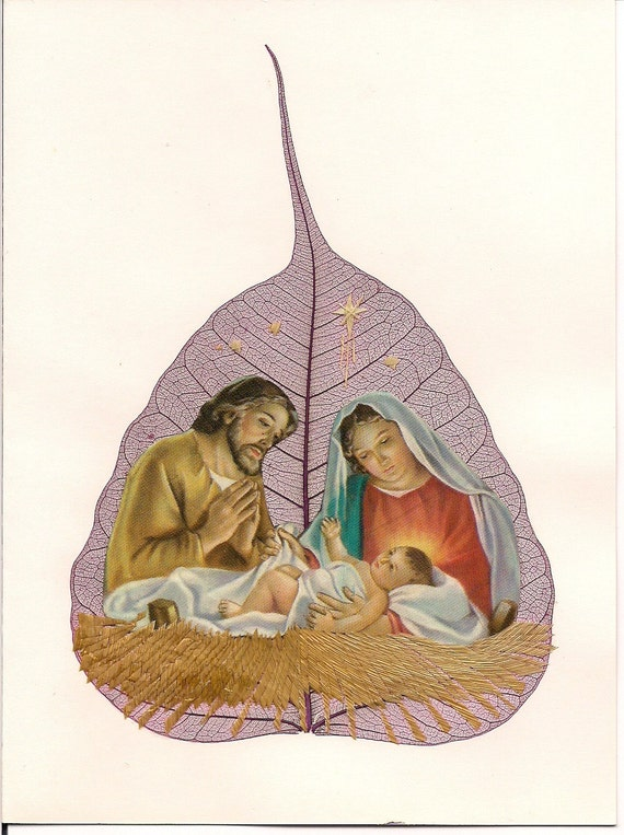 Christmas Nativity Scene on a real leaf.   Handmade Ancient Leaf art collectible  Signed art. Gifts under 10. CHRISTMAS gift