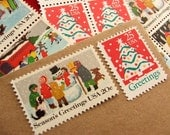 Christmas .. Let it Snow .. UNused Vintage Postage Stamps  .. post 5 letters
