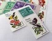 Aves .. Flora .. UNused Vintage Postage Stamps  .. post 10 letters
