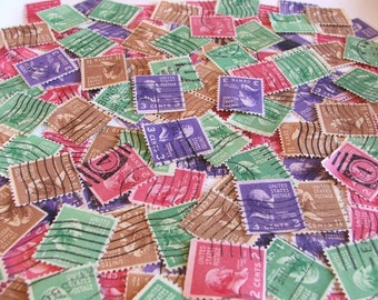 SALE .. 50 Vintage Postage Stamps - used - Three Presidential Gents and a Lady