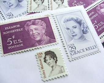 Ladies First .. Royalty ..  UNused Vintage Postage Stamps  .. post 5 letters