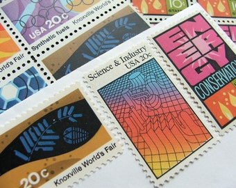 Color of Science .. Vintage UNused Postage Stamps .. to post 5 letters