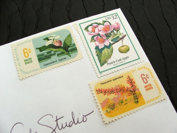 Botanical I .. UNused Vintage Postage Stamps  .. post 5 letters