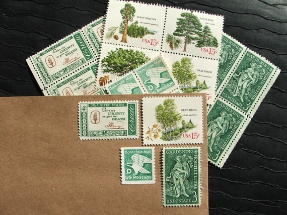 Irish Green .. Vintage UNused Postage Stamps .. to post 5 letters