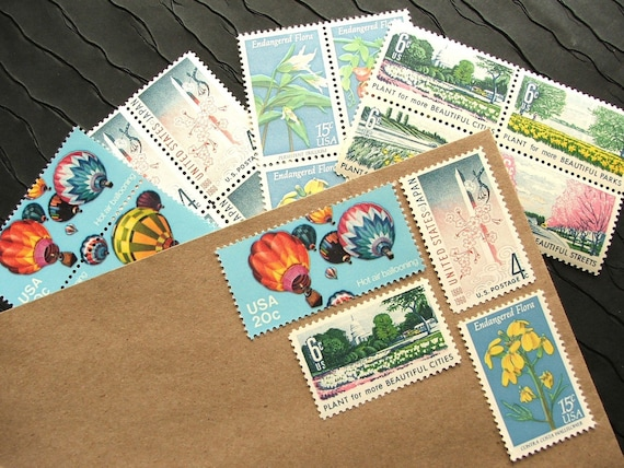 Ballooning III .. floral .. UNused Vintage Postage Stamps  .. post 5 letters