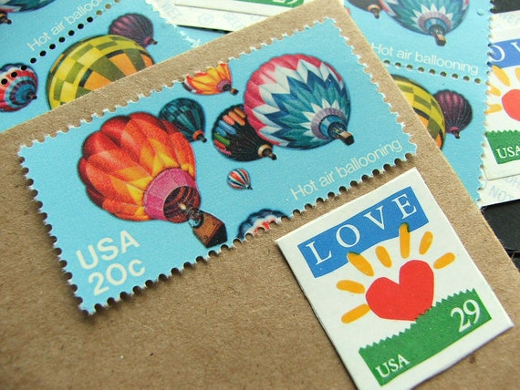 LOVE rising .. UNused Vintage Postage Stamps .. to post 5 letters