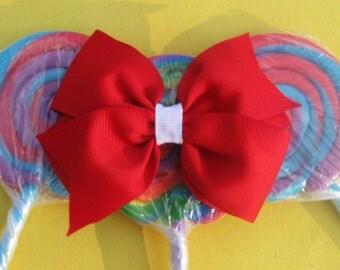 Red Pinwheel Style Bow