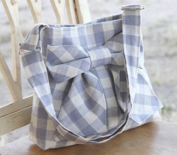 Lavendar Gingham Mini Bag w/ Adjustable Strap--Ready to ship, Last one