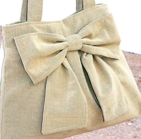 Tan Bow Bag / Purse w/ Double Handles--Last one, Ready to Ship