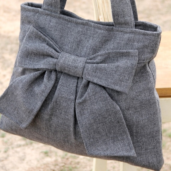 RESERVED for Wilbird---Diaper Bag / Book Bag / Purse- Medium Gray  w/ Double Handles and exterior pocket