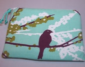 Padded Cosmetic Pouch Coin Purse Zipper Pouch in Mint Green and Grape Purple Aviary Print