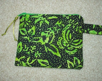 Handmade Change Purse Zipper Pouch Coin Purse in Lime and Black  Batik Print
