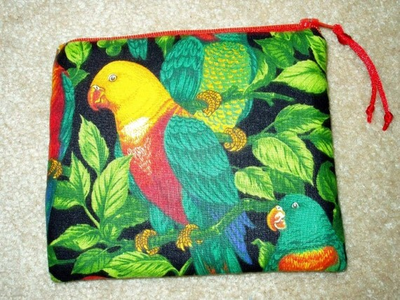Padded Zipper Cosmetic Pouch in Tropical Lories Print